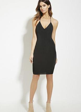 Черное платье по фигуре футляр на бретелях forever21 в бельевом стиле сарафан