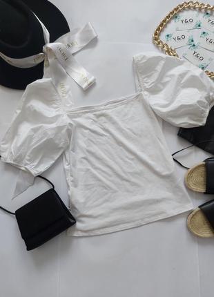 Крутая белая блуза топ с трендовыми рукавами в идеальном состоянии 🖤h&m🖤