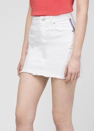 Юбка джинсовая белая летняя новая