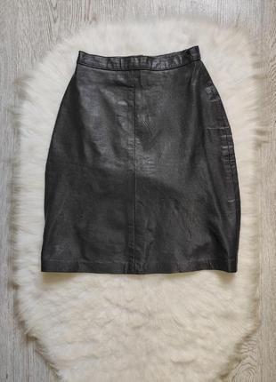 Черная натуральная кожаная юбка короткая мини с молнией карандаш