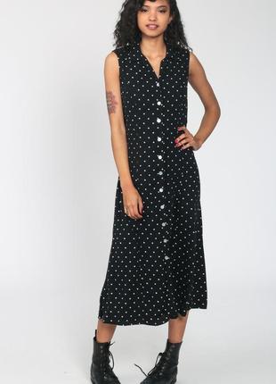 Платье халат миди в горошек винтаж marks&spenser размер 12