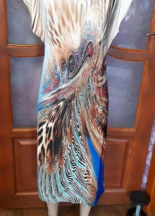 Платье летнее яркое с пиинтом жар-птицы