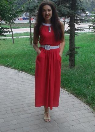 Красное платье, хлопок