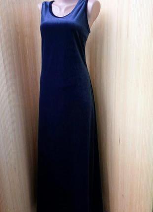 Французское синее вечернее длинное велюровое платье elbio florance