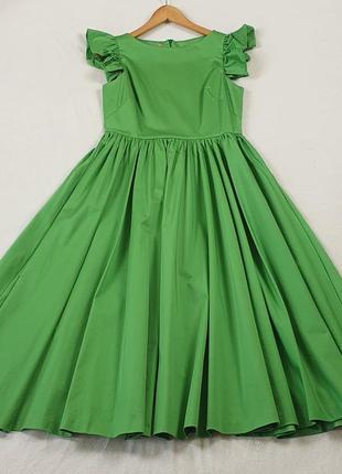 Красивое итальянское длинное зелёное женское платье, размер l, 48-50