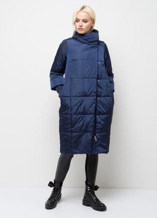 Отличное пальто-кокон  sela, куртка зимняя, пальто, пальто зимнее, синего цвета, размер s