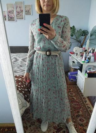 Платье длинное в цветочек