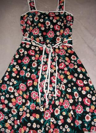 Натуральное яркое летнее платье-сарафан