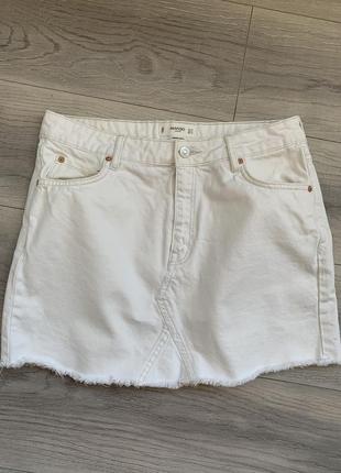 Юбка джинсовая белая mango