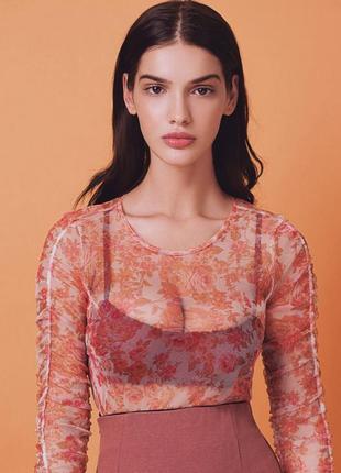 Блуза топ сетка с цветочным принтом zara