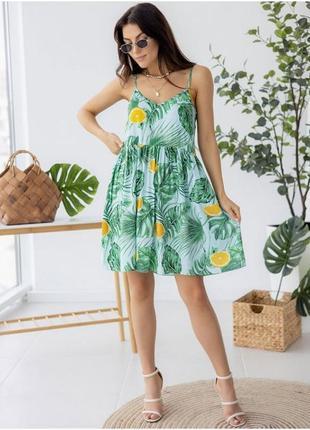 Летнее платье сарафан на брительках с тропическим принтом, уневерсальное платье, жіноча сукня