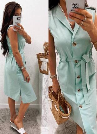 Льняное платье-рубашка1 фото