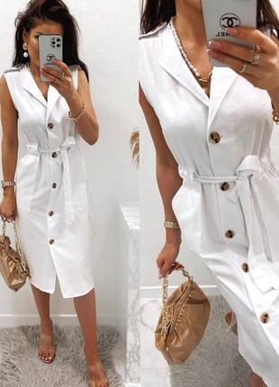 Льняное платье-рубашка2 фото