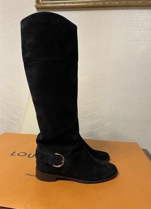 Louis vuitton оригинал черные замшевые высокие сапоги