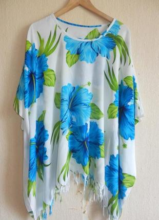 Очаровательная яркая натуральная блуза туника оверсайз пляж лето