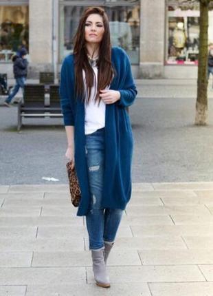 Удлинённый шерстяной кардиган красивого синего цвета от sisley