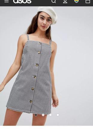 Джинсовый сарафан платье в клетку на пуговицах