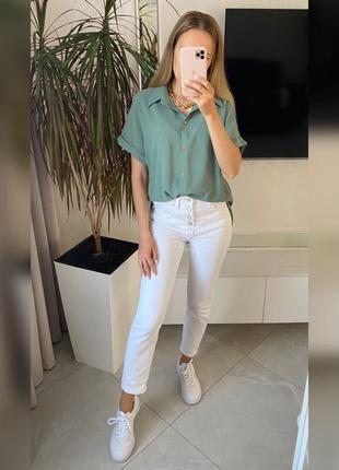 Базовая летняя однотонная рубашка,креп жатка,цвета чёрный, белый,хаки, пудра и голубой