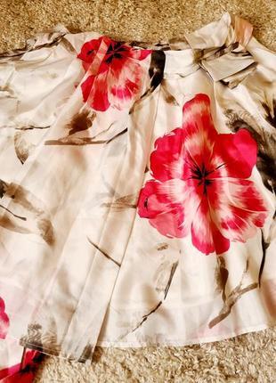Летняя юбка 100% шелк цветочный принт