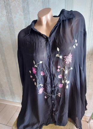 Рубашка блузка, красивая рубашка с цветами батал, кофта кофточка большого размера