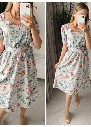 Светло серое летнее платье миди,в цветочный принт с поясом,софт,миди