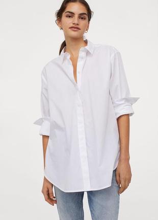 Новая хлопковая рубашка оверсайз h&m. размер м