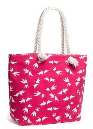 Женская текстильная пляжная сумка на пляж шоппер