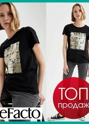 Черная женская футболка defacto / дефакто с принтом из паеток
