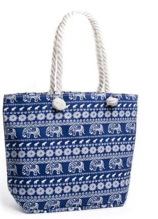 Женская текстильная пляжная сумка на пляж шоппер синяя