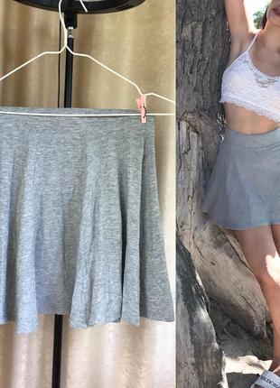 Летняя мини юбка/серая юбка солнце/короткая юбка клеш bershka (s-m)