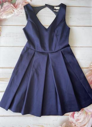 Шикарное синее платье с пышной юбкой