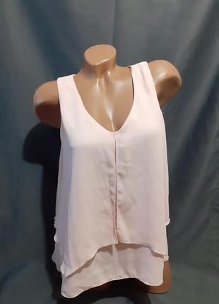 Летняя пудровая блуза блузка пудра лето свободная шифон шифоновая прямая широкая