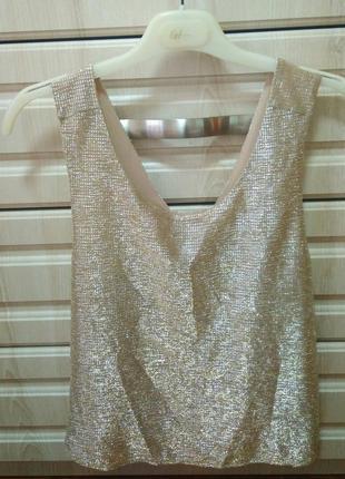 Трендовый топ кроп блуза майка блестящий золотистый новогодний бренда river island,р.10