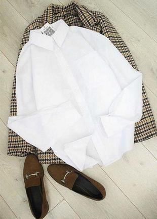 Базовая белая рубашка свободного кроя, сорочка, рубашка в стиле бойфренд, рубашка оверсайз, с карманом