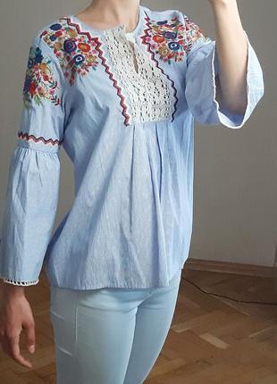 Белая короткая вышиванка блузка рубашка zara блуза хлопок яркая