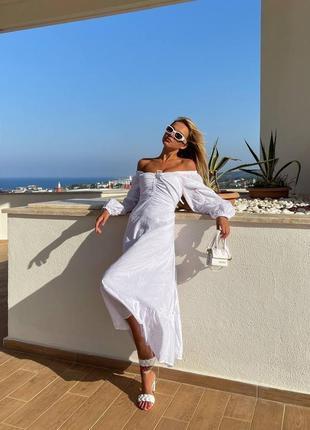 Женское белое платье миди на шнуровке хлопок