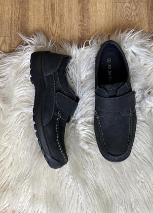 Натур. кожаные нубук туфли мокасины на липучках
