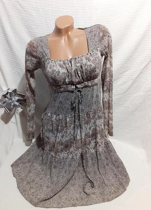 Платье прозрачный рукав шифоновое шифон мелкий цветочек цветок цветочный принт прованс