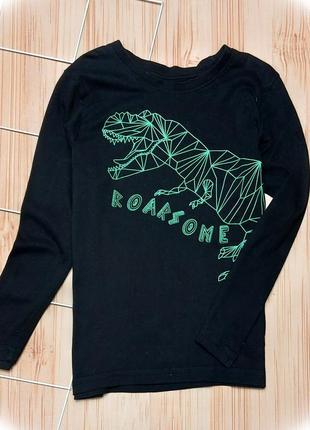 Реглан черный, динозавры, дино, лонгслив
