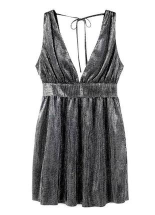 Платье сарафан mango миди блестящее серебристое