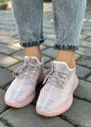 Удобные текстильные женские кроссовки, розовый+серый2 фото