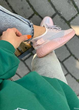 Удобные текстильные женские кроссовки, розовый+серый4 фото