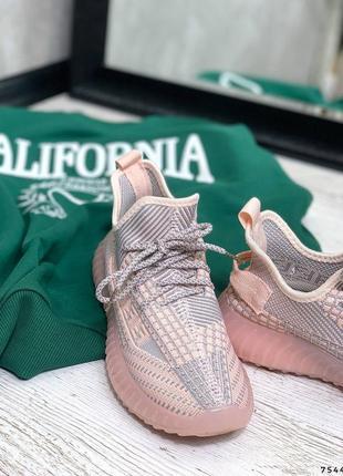 Удобные текстильные женские кроссовки, розовый+серый7 фото