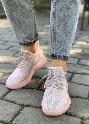 Удобные текстильные женские кроссовки, розовый+серый5 фото