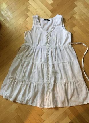 Белое ярусное платье сарафан хлопок коттон dorothy perkins пог 49 см
