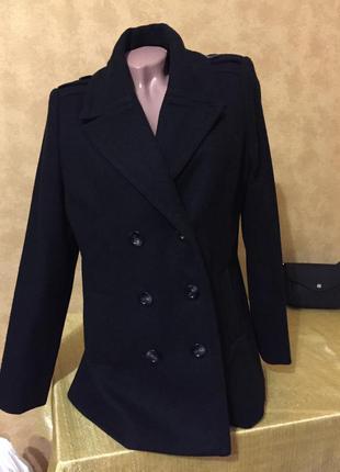 Классическое шерстяное двубортное пальто 14р/xl