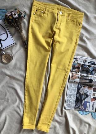 Желтые джинсы , штаны ,  яркие скинни
