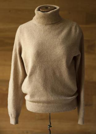 Бежевый кашемировый свитер под горло женский m&s, размер м, l