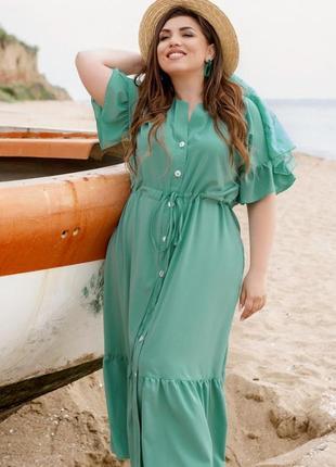 Стильное хлопковое летнее платье сарафан миди батал + бесплатная доставка🌹