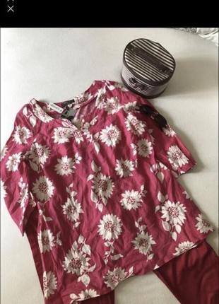 Блуза кофта рубашка женская большой размер льняная